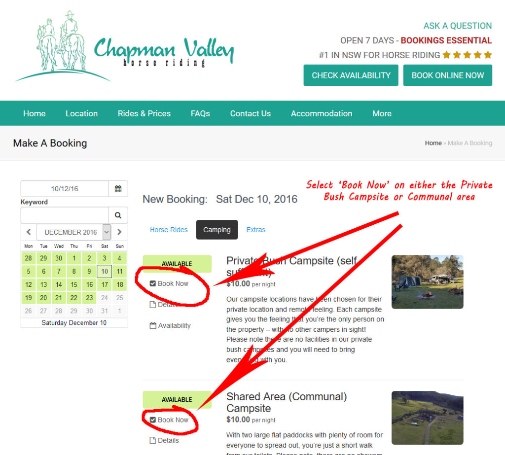 Chapman Valley how to book a campsite